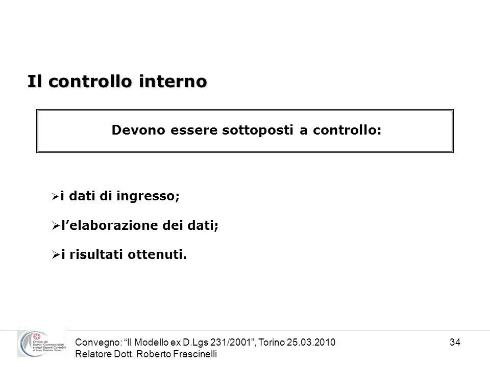 Convegno: Il Modello ex D.Lgs 231/2001, Torino 25.03.2010 Relatore Dott. Roberto Frascinelli 34 Il controllo interno Devono essere sottoposti a contro