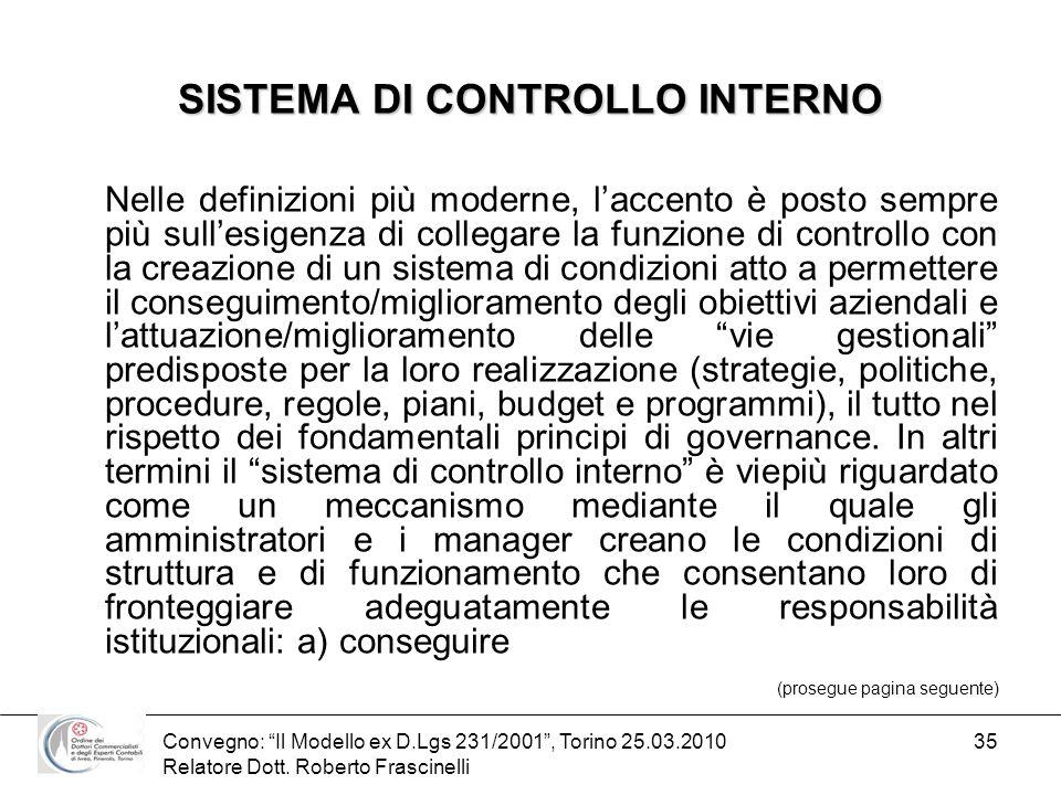 Convegno: Il Modello ex D.Lgs 231/2001, Torino 25.03.2010 Relatore Dott. Roberto Frascinelli 35 SISTEMA DI CONTROLLO INTERNO Nelle definizioni più mod
