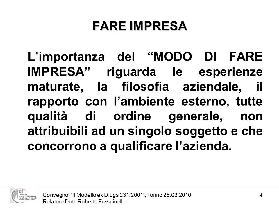 Convegno: Il Modello ex D.Lgs 231/2001, Torino 25.03.2010 Relatore Dott. Roberto Frascinelli 4 FARE IMPRESA Limportanza del MODO DI FARE IMPRESA rigua