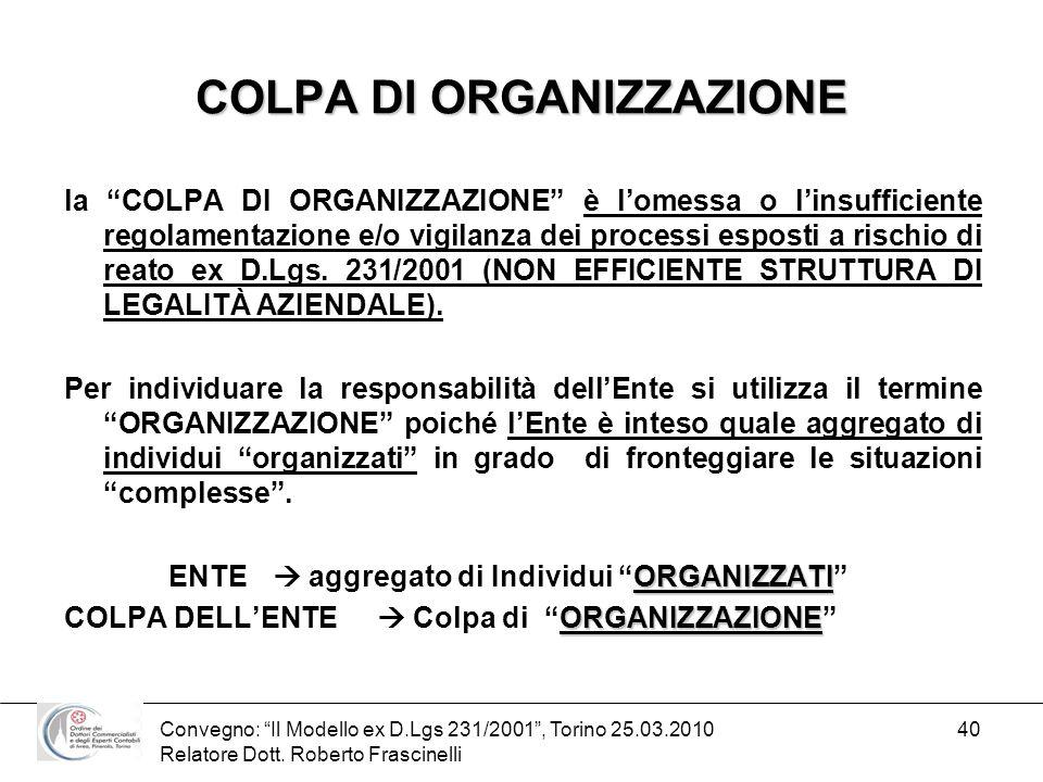 Convegno: Il Modello ex D.Lgs 231/2001, Torino 25.03.2010 Relatore Dott. Roberto Frascinelli 40 COLPA DI ORGANIZZAZIONE la COLPA DI ORGANIZZAZIONE è l