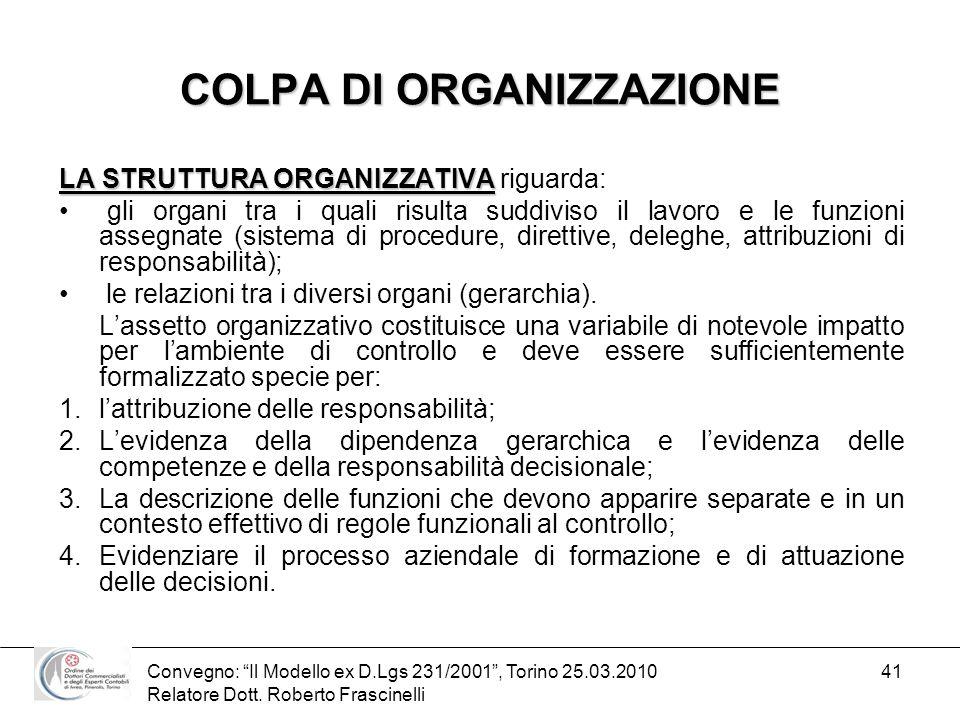 Convegno: Il Modello ex D.Lgs 231/2001, Torino 25.03.2010 Relatore Dott. Roberto Frascinelli 41 COLPA DI ORGANIZZAZIONE LA STRUTTURA ORGANIZZATIVA LA