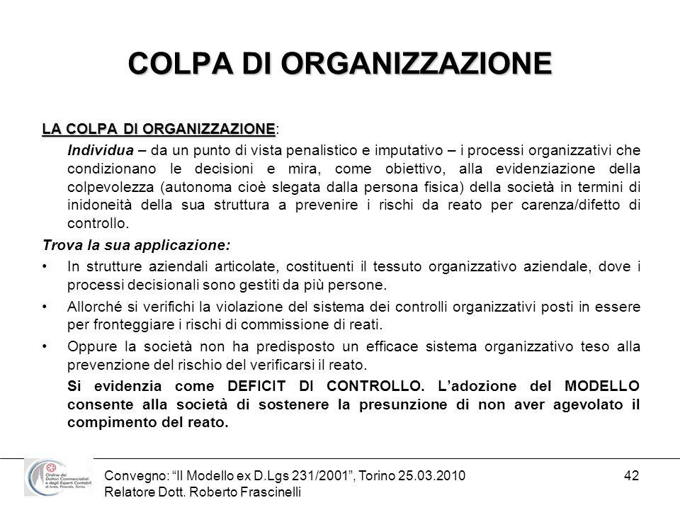 Convegno: Il Modello ex D.Lgs 231/2001, Torino 25.03.2010 Relatore Dott. Roberto Frascinelli 42 COLPA DI ORGANIZZAZIONE LA COLPA DI ORGANIZZAZIONE LA