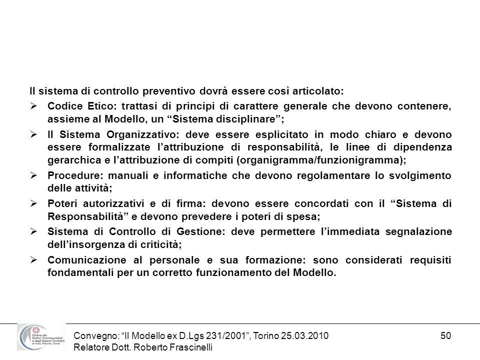 Convegno: Il Modello ex D.Lgs 231/2001, Torino 25.03.2010 Relatore Dott. Roberto Frascinelli 50 Il sistema di controllo preventivo dovrà essere così a