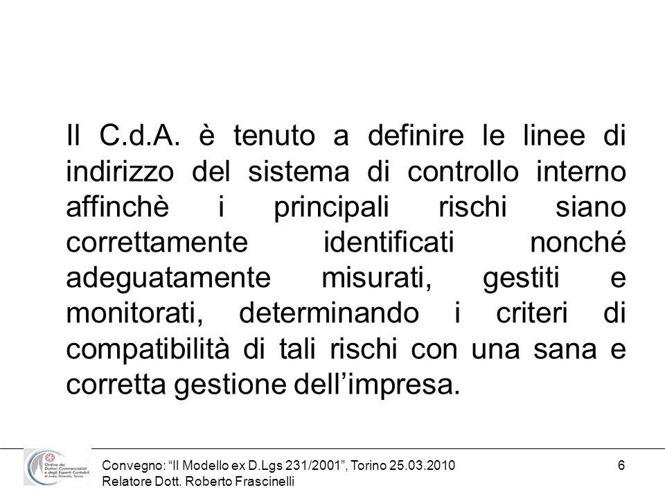 Convegno: Il Modello ex D.Lgs 231/2001, Torino 25.03.2010 Relatore Dott. Roberto Frascinelli 6 Il C.d.A. è tenuto a definire le linee di indirizzo del