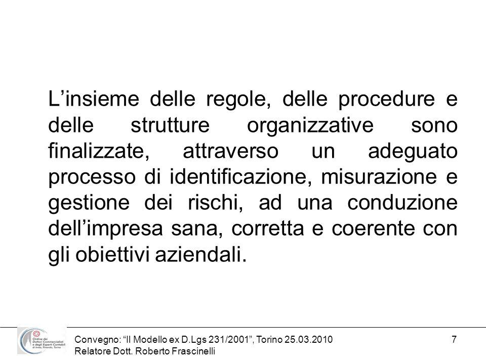 Convegno: Il Modello ex D.Lgs 231/2001, Torino 25.03.2010 Relatore Dott. Roberto Frascinelli 7 Linsieme delle regole, delle procedure e delle struttur