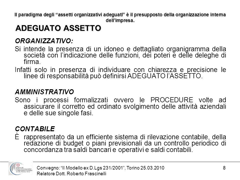 Convegno: Il Modello ex D.Lgs 231/2001, Torino 25.03.2010 Relatore Dott. Roberto Frascinelli 8 Il paradigma degli assetti organizzativi adeguati è il