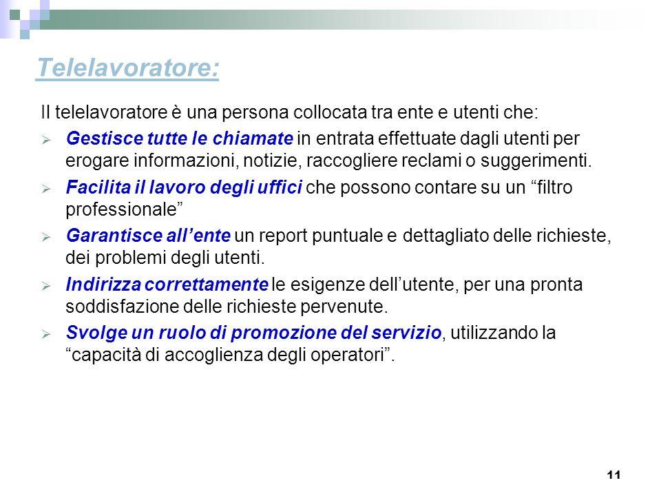 11 Telelavoratore: Il telelavoratore è una persona collocata tra ente e utenti che: Gestisce tutte le chiamate in entrata effettuate dagli utenti per