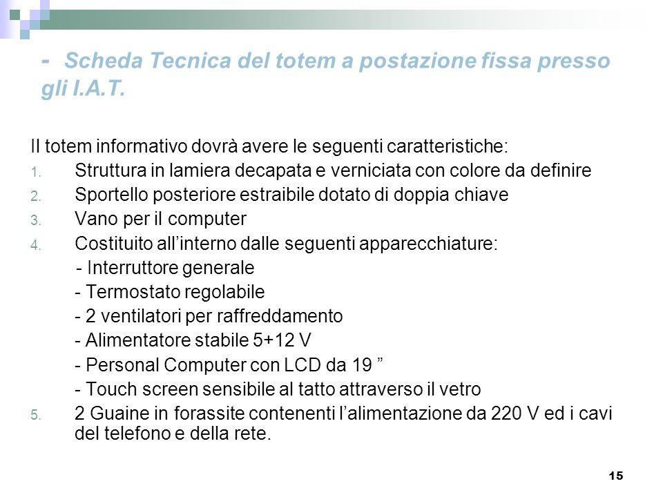 15 - Scheda Tecnica del totem a postazione fissa presso gli I.A.T. Il totem informativo dovrà avere le seguenti caratteristiche: 1. Struttura in lamie