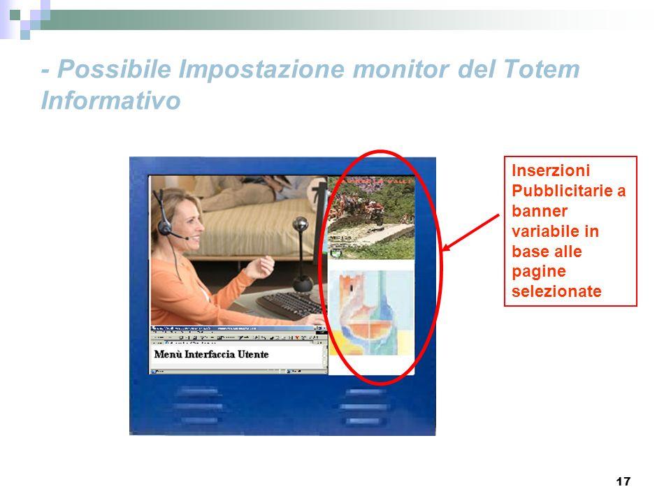 17 - Possibile Impostazione monitor del Totem Informativo Inserzioni Pubblicitarie a banner variabile in base alle pagine selezionate