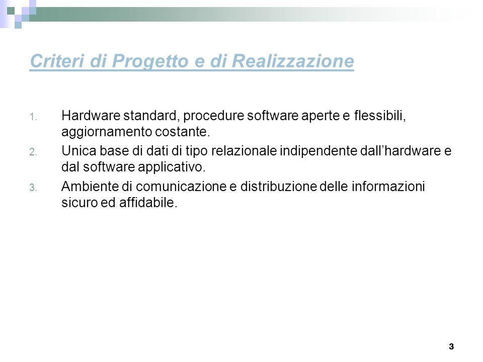 3 Criteri di Progetto e di Realizzazione 1. Hardware standard, procedure software aperte e flessibili, aggiornamento costante. 2. Unica base di dati d