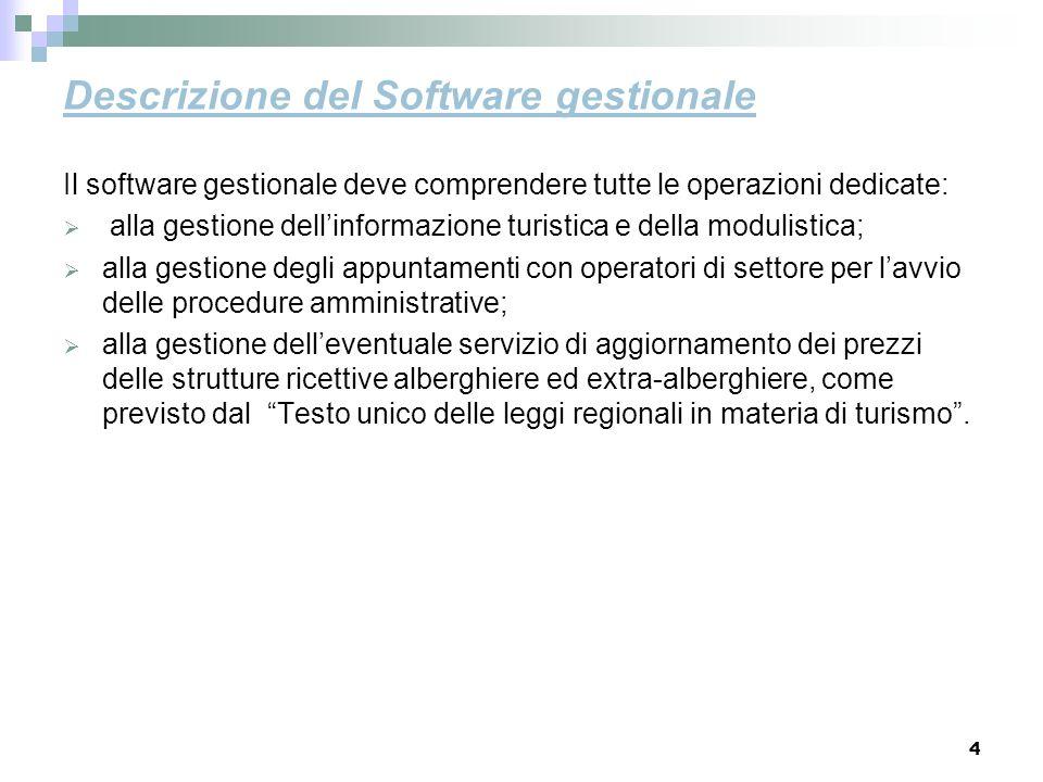 4 Descrizione del Software gestionale Il software gestionale deve comprendere tutte le operazioni dedicate: alla gestione dellinformazione turistica e
