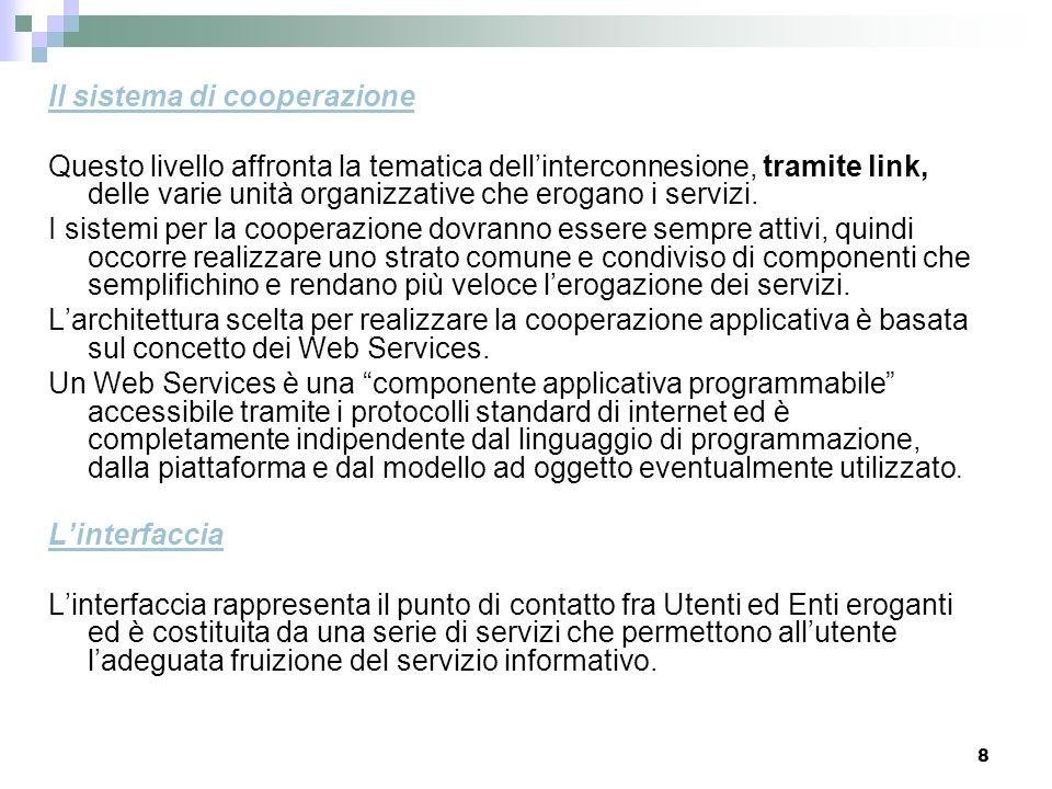 8 Il sistema di cooperazione Questo livello affronta la tematica dellinterconnesione, tramite link, delle varie unità organizzative che erogano i serv
