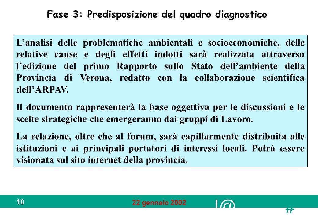 !@ # 22 gennaio 2002 10 Fase 3: Predisposizione del quadro diagnostico Lanalisi delle problematiche ambientali e socioeconomiche, delle relative cause