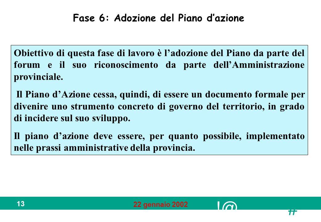 !@ # 22 gennaio 2002 13 Fase 6: Adozione del Piano dazione Obiettivo di questa fase di lavoro è ladozione del Piano da parte del forum e il suo riconoscimento da parte dellAmministrazione provinciale.