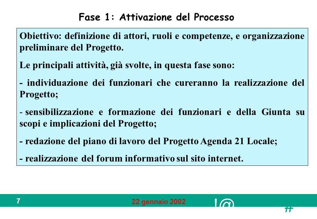 !@ # 22 gennaio 2002 7 Fase 1: Attivazione del Processo Obiettivo: definizione di attori, ruoli e competenze, e organizzazione preliminare del Progett