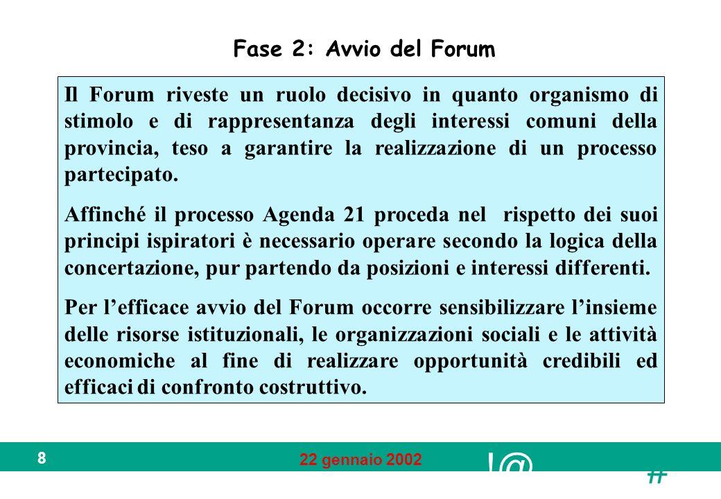 !@ # 22 gennaio 2002 8 Fase 2: Avvio del Forum Il Forum riveste un ruolo decisivo in quanto organismo di stimolo e di rappresentanza degli interessi comuni della provincia, teso a garantire la realizzazione di un processo partecipato.
