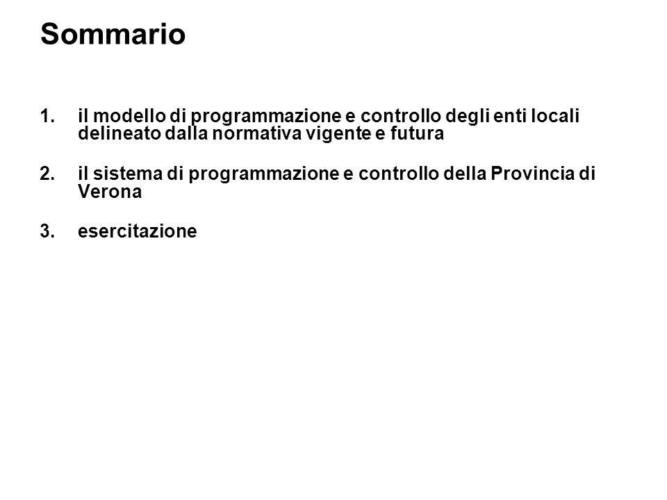 Sommario 1.il modello di programmazione e controllo degli enti locali delineato dalla normativa vigente e futura 2.il sistema di programmazione e controllo della Provincia di Verona 3.esercitazione