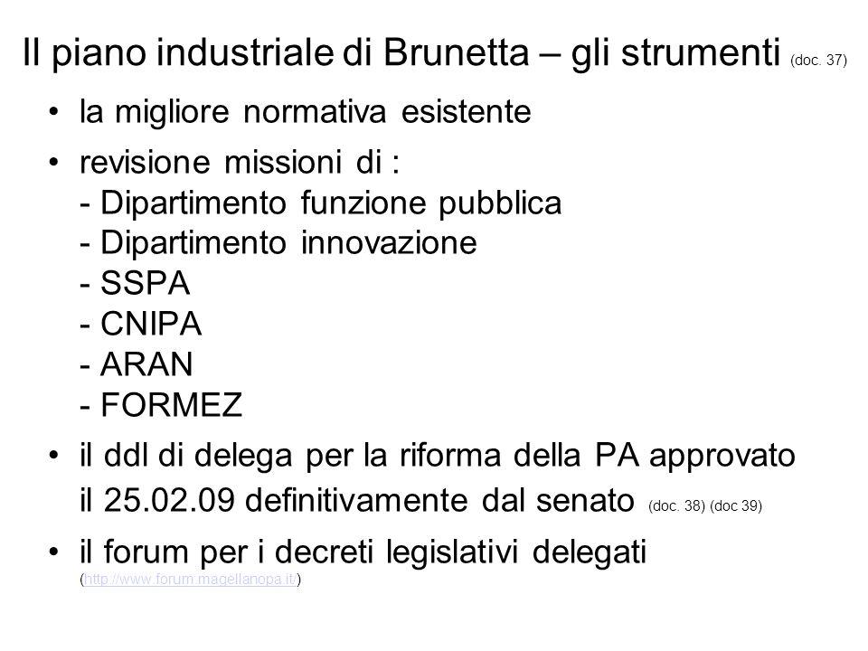Il piano industriale di Brunetta – gli strumenti (doc.