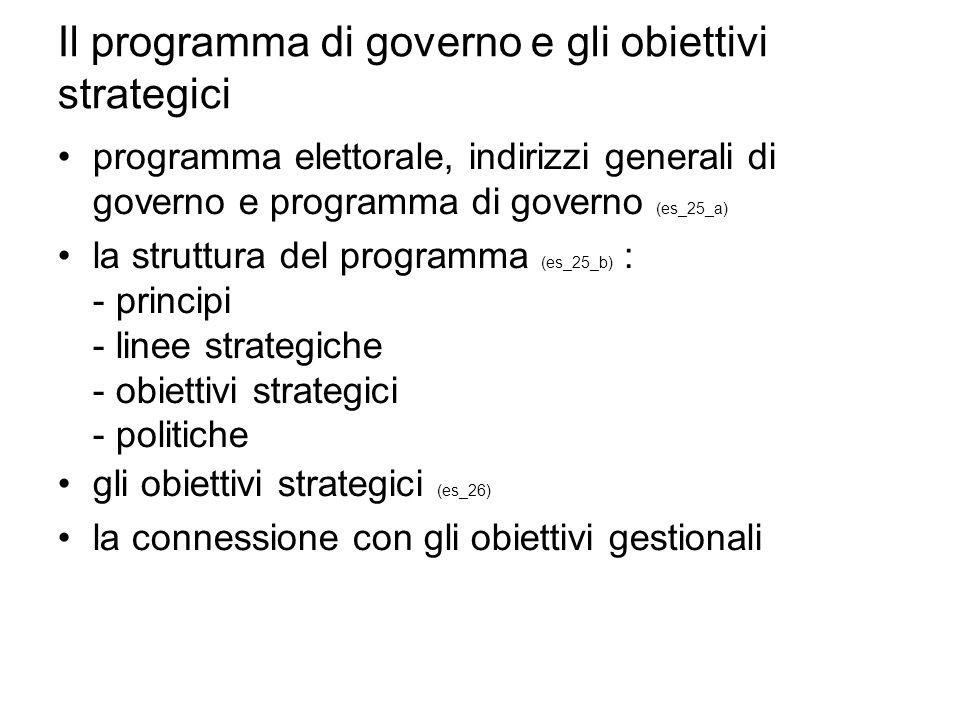 Il programma di governo e gli obiettivi strategici programma elettorale, indirizzi generali di governo e programma di governo (es_25_a) la struttura del programma (es_25_b) : - principi - linee strategiche - obiettivi strategici - politiche gli obiettivi strategici (es_26) la connessione con gli obiettivi gestionali