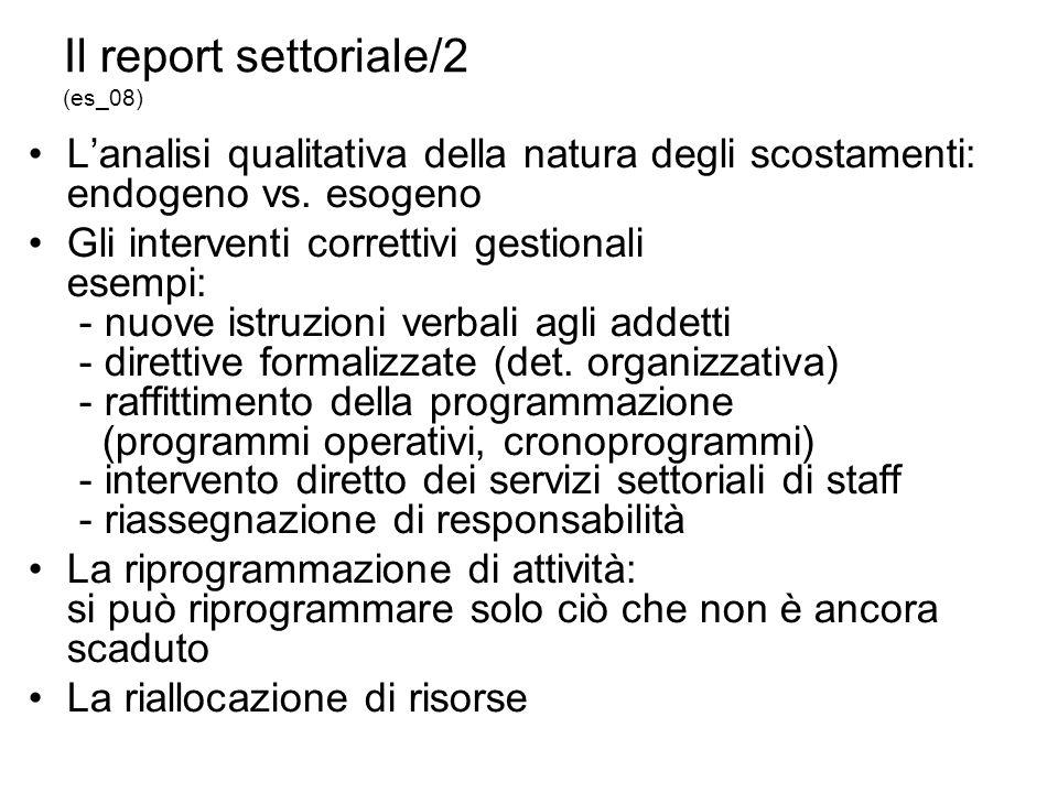 Il report settoriale/2 (es_08) Lanalisi qualitativa della natura degli scostamenti: endogeno vs.