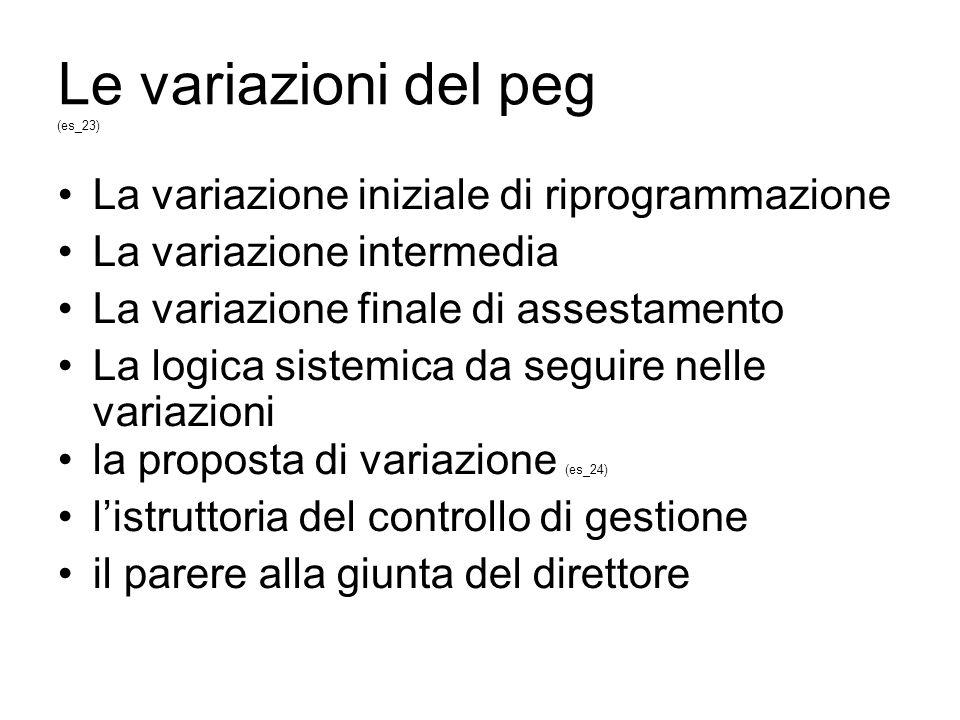 Le variazioni del peg (es_23) La variazione iniziale di riprogrammazione La variazione intermedia La variazione finale di assestamento La logica sistemica da seguire nelle variazioni la proposta di variazione (es_24) listruttoria del controllo di gestione il parere alla giunta del direttore