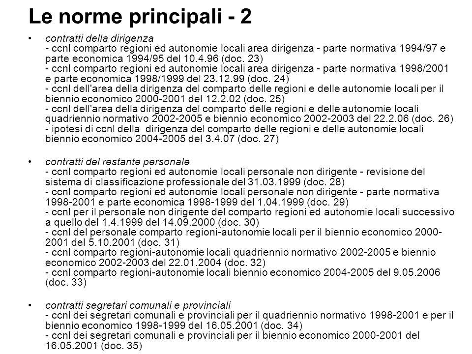 Le norme principali - 2 contratti della dirigenza - ccnl comparto regioni ed autonomie locali area dirigenza - parte normativa 1994/97 e parte economica 1994/95 del 10.4.96 (doc.