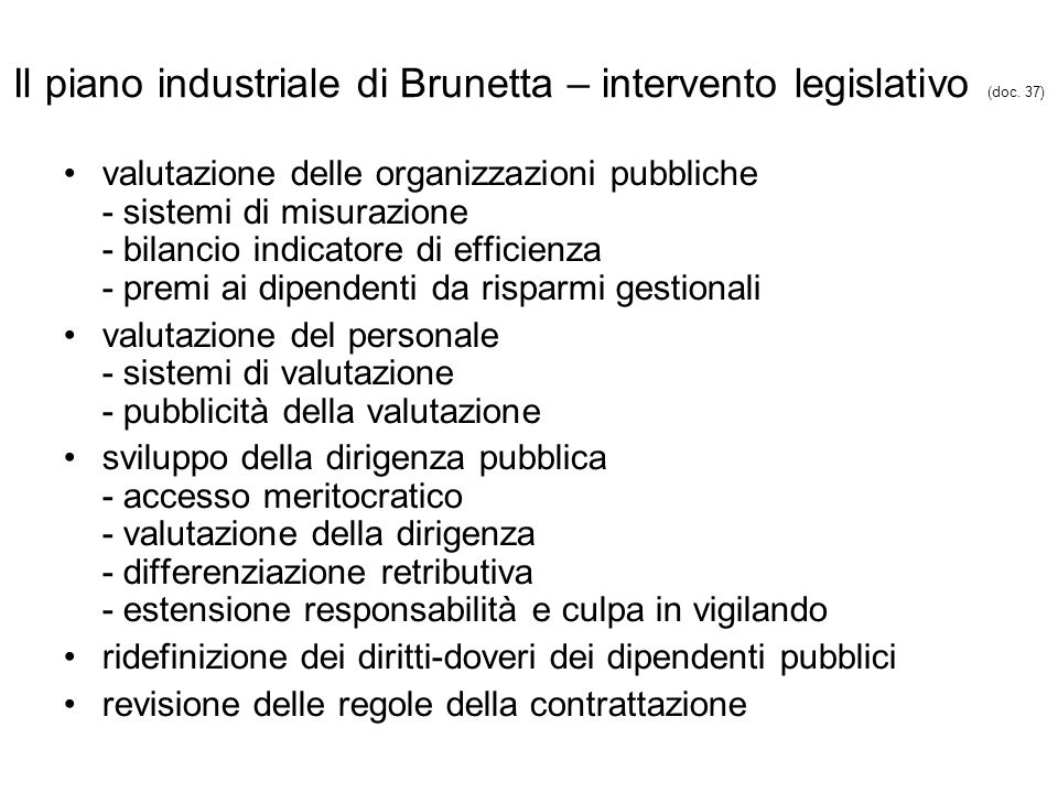 Il piano industriale di Brunetta – intervento legislativo (doc.