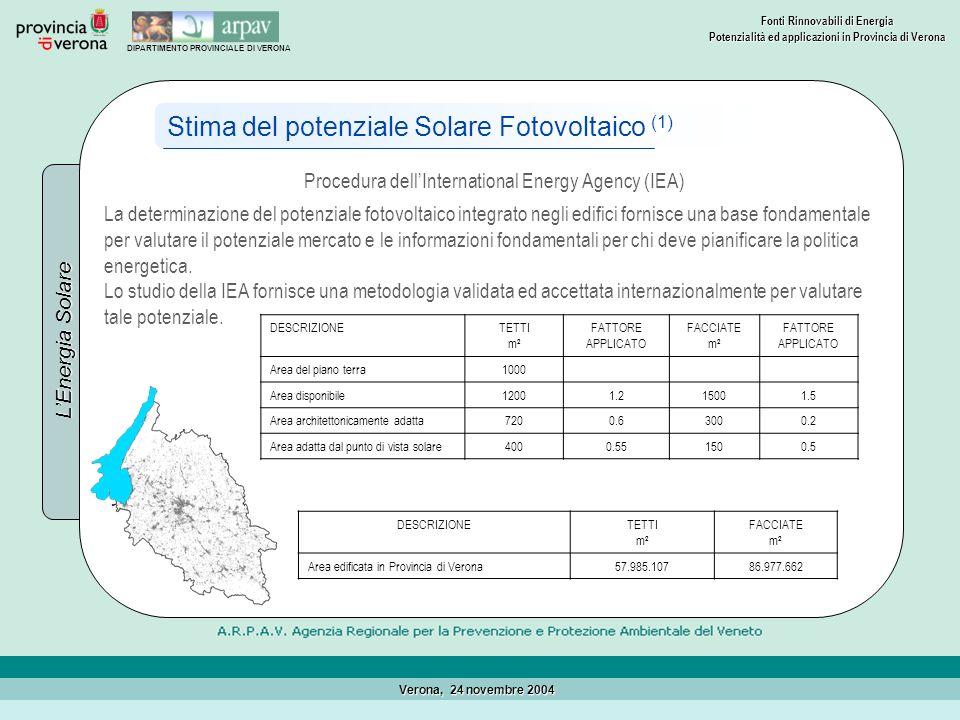 DIPARTIMENTO PROVINCIALE DI VERONA Fonti Rinnovabili di Energia Potenzialità ed applicazioni in Provincia di Verona Verona, 24 novembre 2004 LEnergia