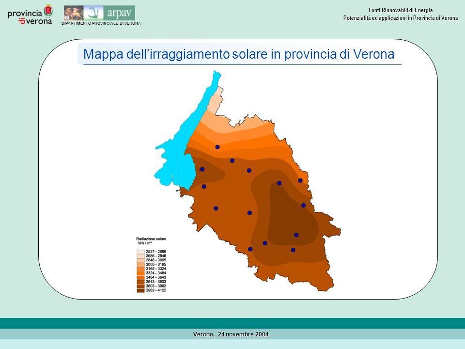 DIPARTIMENTO PROVINCIALE DI VERONA Fonti Rinnovabili di Energia Potenzialità ed applicazioni in Provincia di Verona Verona, 24 novembre 2004 LEnergia Solare Lenergia solare può essere sfruttata per produrre calore o elettricità.