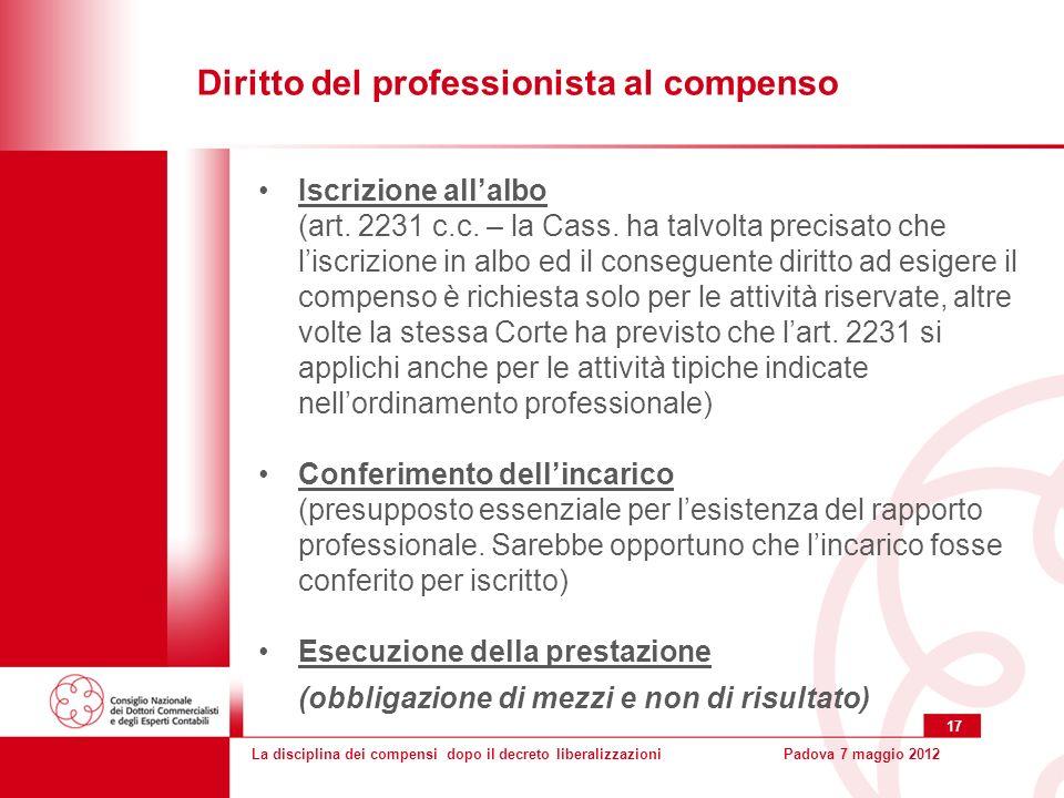 La disciplina dei compensi dopo il decreto liberalizzazioniPadova 7 maggio 2012 17 Iscrizione allalbo (art.