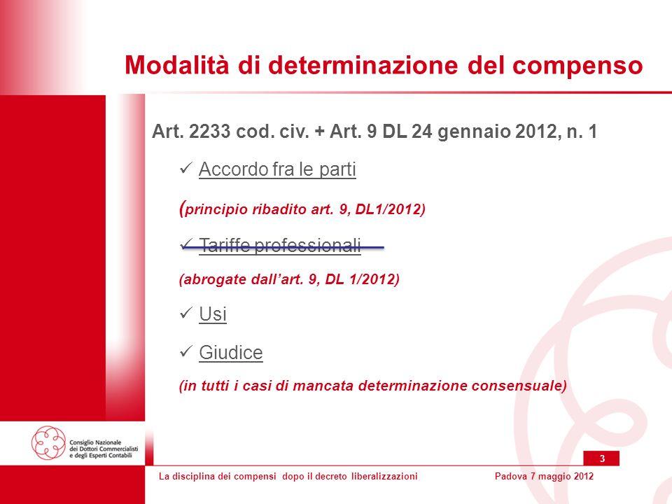 La disciplina dei compensi dopo il decreto liberalizzazioniPadova 7 maggio 2012 3 Modalità di determinazione del compenso Art.
