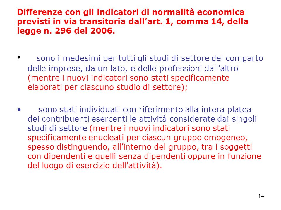 14 Differenze con gli indicatori di normalità economica previsti in via transitoria dallart.