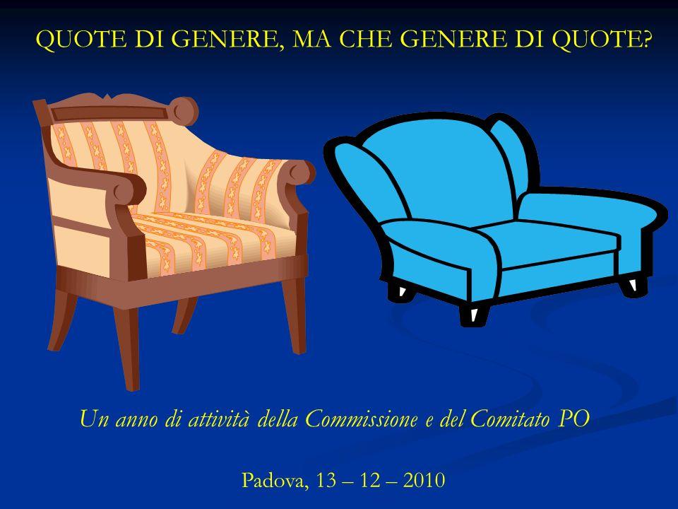 QUOTE DI GENERE, MA CHE GENERE DI QUOTE? Padova, 13 – 12 – 2010 Un anno di attività della Commissione e del Comitato PO