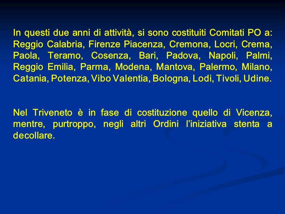 In questi due anni di attività, si sono costituiti Comitati PO a: Reggio Calabria, Firenze Piacenza, Cremona, Locri, Crema, Paola, Teramo, Cosenza, Ba