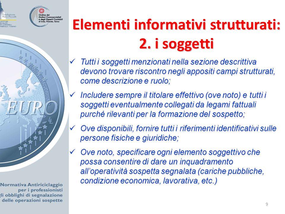 10 Elementi informativi strutturati: 3.
