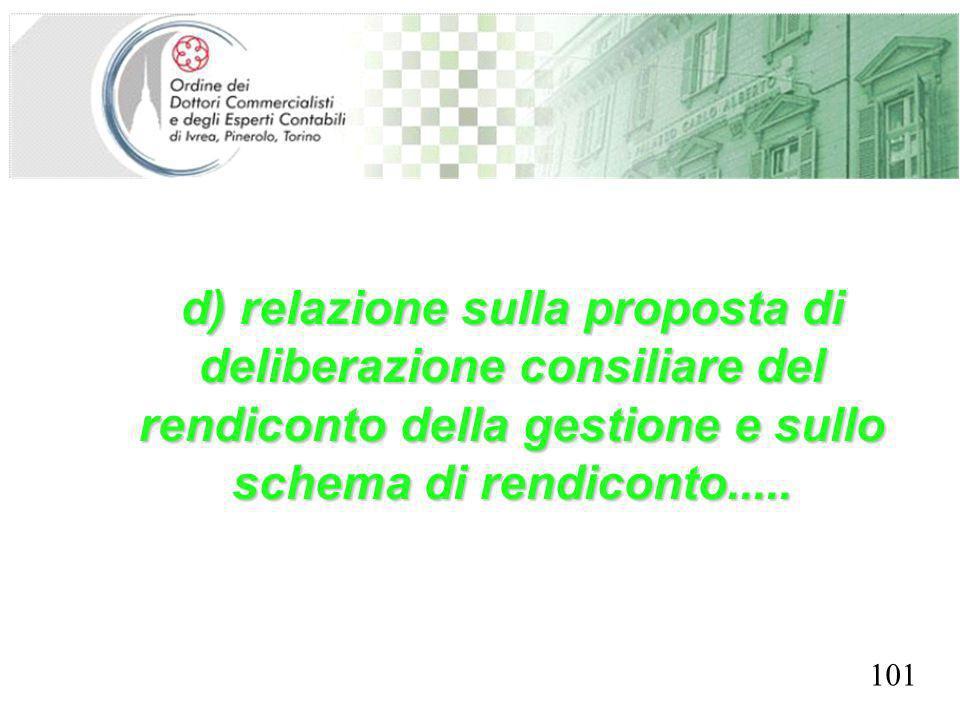 SEGRETERIA PROVINCIALE - TORINO d) relazione sulla proposta di deliberazione consiliare del rendiconto della gestione e sullo schema di rendiconto....