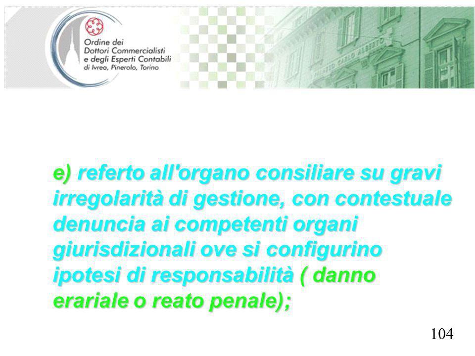 SEGRETERIA PROVINCIALE - TORINO e) referto all'organo consiliare su gravi irregolarità di gestione, con contestuale denuncia ai competenti organi giur