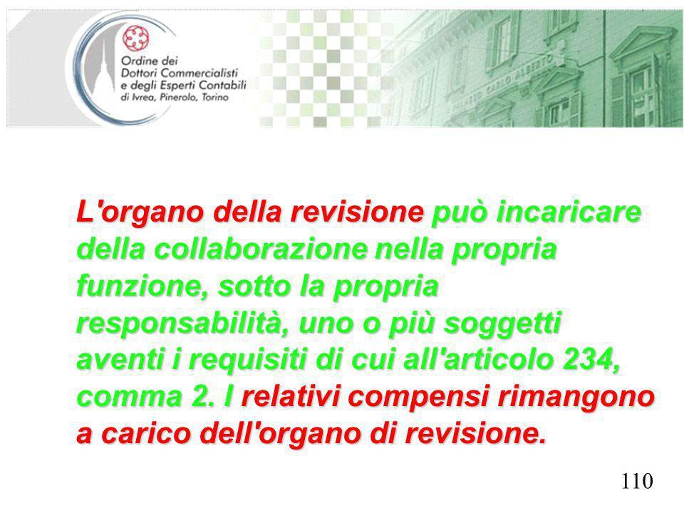 SEGRETERIA PROVINCIALE - TORINO L organo della revisione può incaricare della collaborazione nella propria funzione, sotto la propria responsabilità, uno o più soggetti aventi i requisiti di cui all articolo 234, comma 2.
