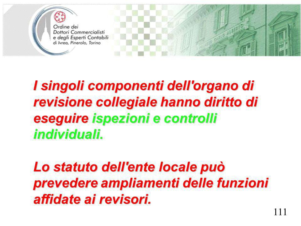 SEGRETERIA PROVINCIALE - TORINO I singoli componenti dell organo di revisione collegiale hanno diritto di eseguire ispezioni e controlli individuali.