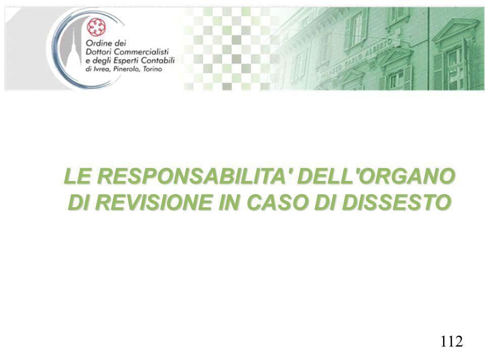 SEGRETERIA PROVINCIALE - TORINO LE RESPONSABILITA' DELL'ORGANO DI REVISIONE IN CASO DI DISSESTO 112