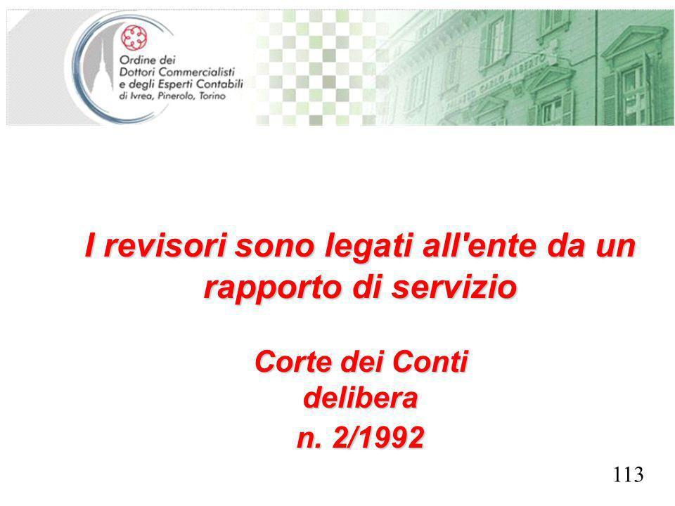 SEGRETERIA PROVINCIALE - TORINO I revisori sono legati all'ente da un rapporto di servizio Corte dei Conti delibera n. 2/1992 113