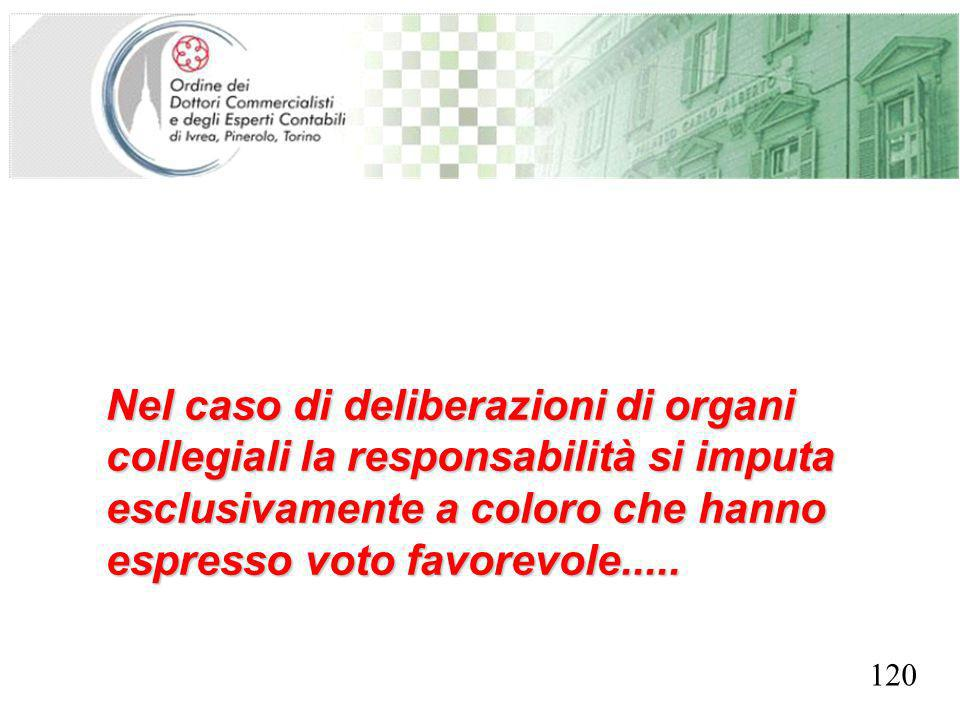SEGRETERIA PROVINCIALE - TORINO Nel caso di deliberazioni di organi collegiali la responsabilità si imputa esclusivamente a coloro che hanno espresso voto favorevole.....