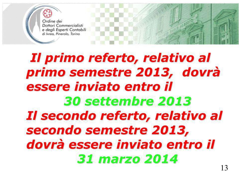 SEGRETERIA PROVINCIALE - TORINO Il primo referto, relativo al primo semestre 2013, dovrà essere inviato entro il Il primo referto, relativo al primo s