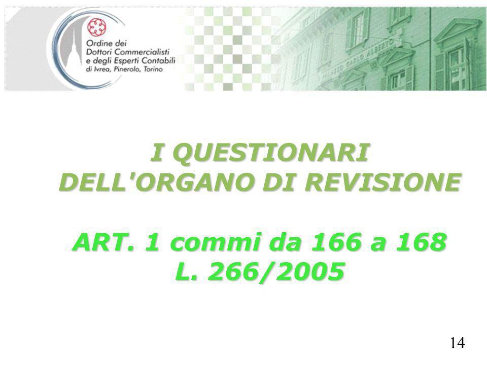 SEGRETERIA PROVINCIALE - TORINO I QUESTIONARI DELL'ORGANO DI REVISIONE ART. 1 commi da 166 a 168 L. 266/2005 14