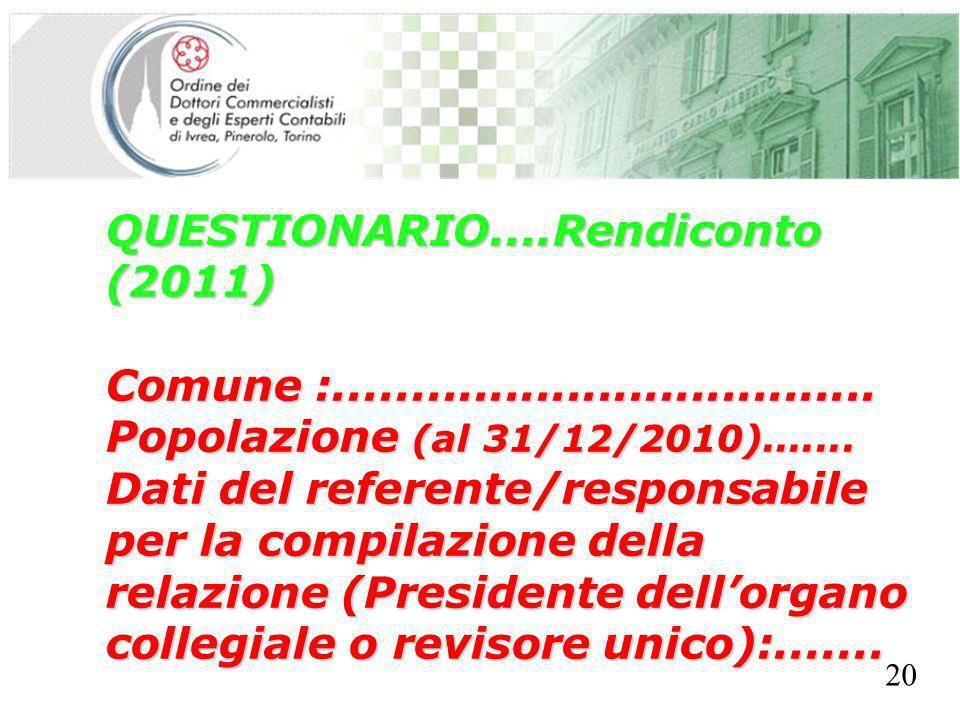 SEGRETERIA PROVINCIALE - TORINO QUESTIONARIO....Rendiconto (2011) Comune :................................... Popolazione (al 31/12/2010)....... Dati