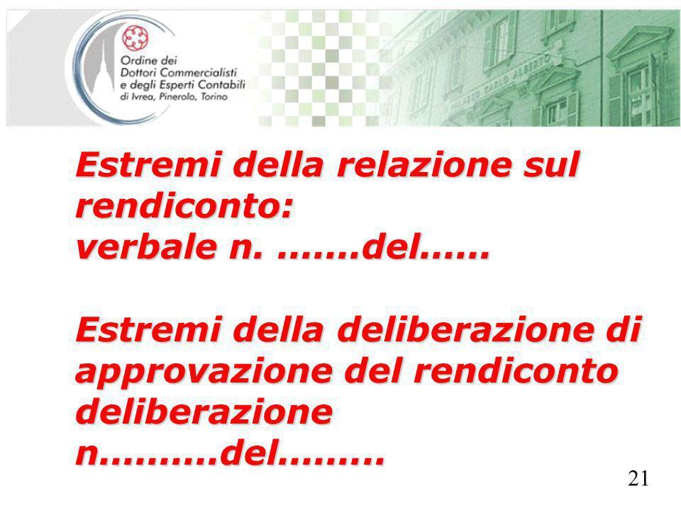 SEGRETERIA PROVINCIALE - TORINO Estremi della relazione sul rendiconto: verbale n........del...... Estremi della deliberazione di approvazione del ren