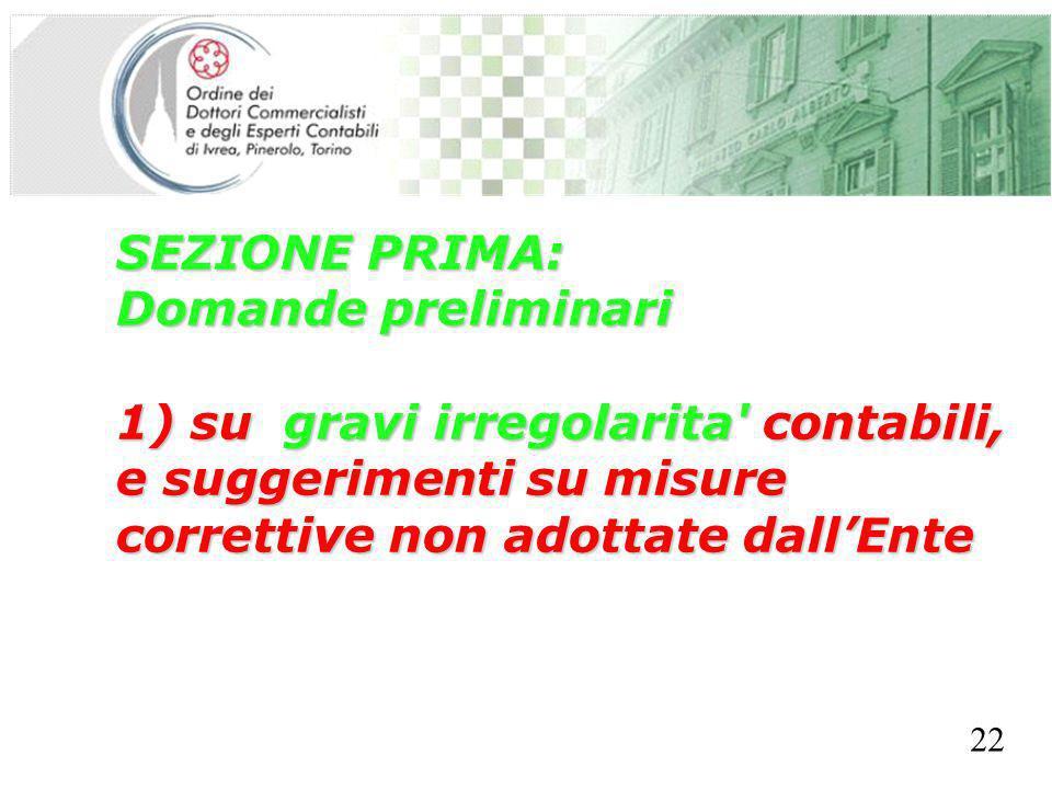 SEGRETERIA PROVINCIALE - TORINO SEZIONE PRIMA: Domande preliminari 1) su gravi irregolarita contabili, e suggerimenti su misure correttive non adottate dallEnte 22