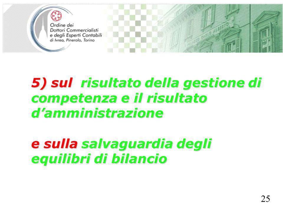 SEGRETERIA PROVINCIALE - TORINO 5) sul risultato della gestione di competenza e il risultato damministrazione e sulla salvaguardia degli equilibri di