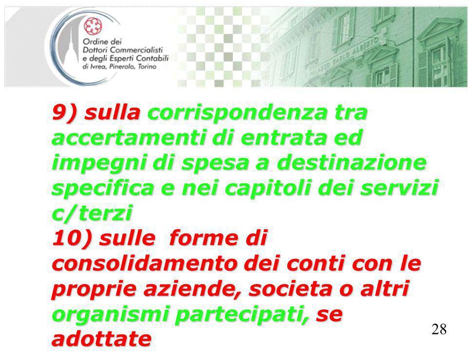SEGRETERIA PROVINCIALE - TORINO 9) sulla corrispondenza tra accertamenti di entrata ed impegni di spesa a destinazione specifica e nei capitoli dei se