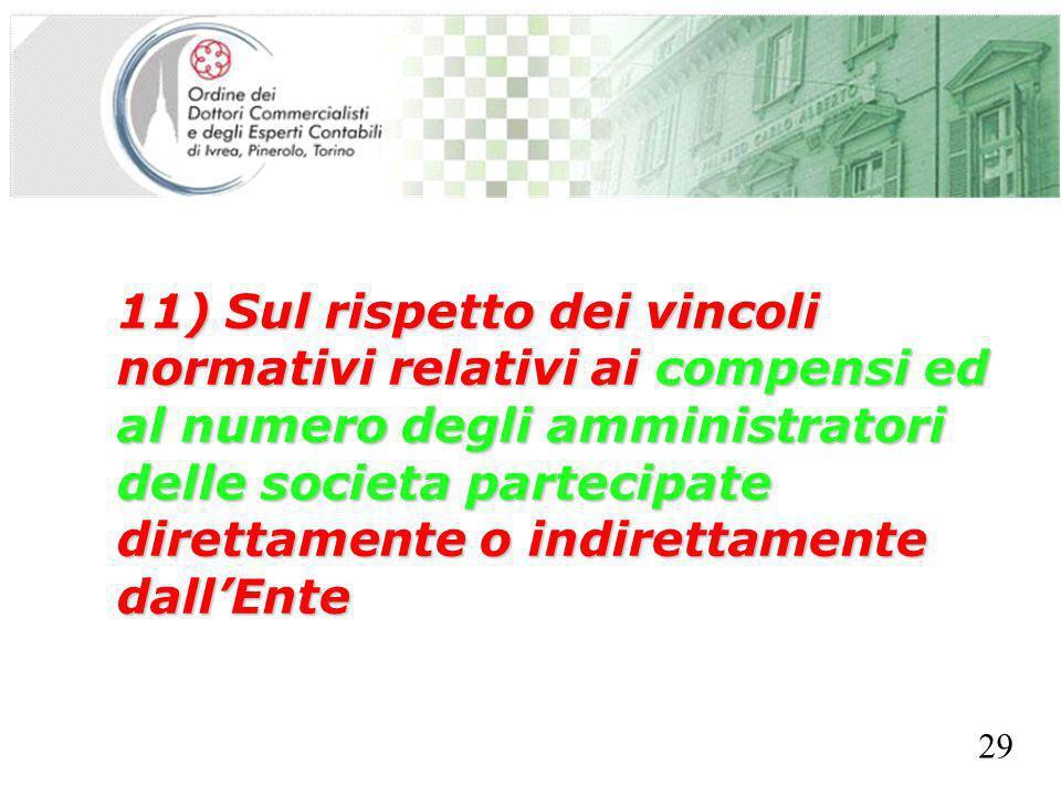 SEGRETERIA PROVINCIALE - TORINO 11) Sul rispetto dei vincoli normativi relativi ai compensi ed al numero degli amministratori delle societa partecipat